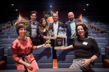 Links vooraan Ellen Van Turnhout van Agora Group, rechts vooraan Mieke Frijters van ATF, Links achteraan Minze Health, rechts achteraan Filip Van den Eede van ShowTex