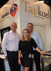 Peter Naaijkens, managing director bij Gamko, Marjolein Geldof Zaakvoerder Tapkoel bvba en 1089 bvba, Paul Van Dijk, zaakvoerder Tapkoel B.V.