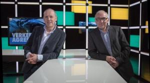 Bart Timperman (links) en Jan Peeters een jaar geleden in het vernieuwde RTV-decor.