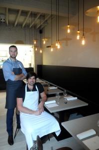 Uitbaters nieuw restaurant Ogst sebastien ( zittend) en diederik