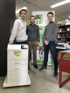 Maxime Carpentier (Zerocopy), Roel Lambrechts (StuRa) en Tom Wolfs (Re-Book IT).