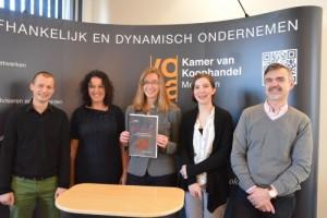 Vlnr Axel Debruyne (Special Things), Christina Hermans (Thomas More), Lynn Peleman, Silke Maes en Hans Janssens (BMS Nutrients)