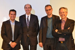 (v.l.n.r.): Shahram Sharif (LindaCare's CEO), Pr. Dr. Frank Rademakers (Chief Medical Technology and Innovation Officer at UZ Leuven), Pr. Dr. Rik Willems (Cardiologist at UZ Leuven), Bart Van den Bosch (Chief Information Officer at UZ Leuven).